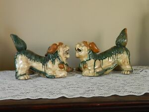 Pair Of Vintage Antique Ceramic Porcelain Chinese Foo Dogs