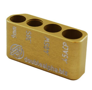 Double Alpha Academy Multi Bullet Case Guage - 9mm .38Super .40SW and .45ACP