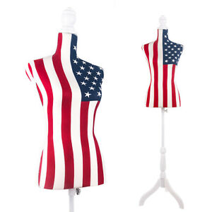 Female Mannequin Torso Dress Form Tripod Stand Display National Flag Style