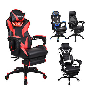 Ergonomic Computer Gaming Chair Adjustable Swivel Recliner Office Pc Desk Seat