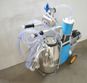 Electric Milking Machine 25l Single 304 Stainless Steel Bucket Piston For Cows