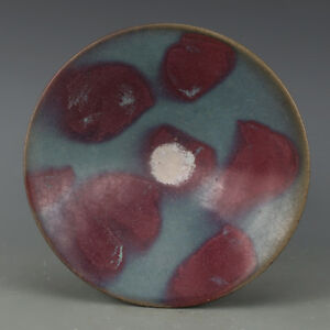 Chinese Old Jun Kiln Sky Blue Glaze Purple Red Spots Pattern Porcelain Bowl