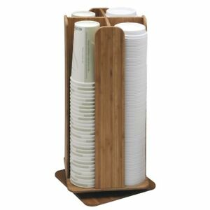 Cal mil 4 section Natural Bamboo Revolving Lid And Coffee Cup Dispenser 8 sq X