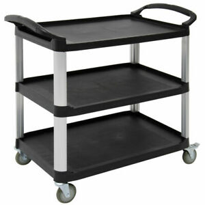 Hubert Open Sided Utility Cart With 3 Shelves Black Plastic 38 1 2 l X 20