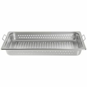 Hubert Full Size Perforated Steam Table Pan With Handles 22 Gauge Stainless