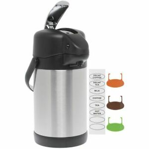 Hubert Thermal Airpot Coffee Dispenser With Lever Top 2 5 Liter Stainless Steel