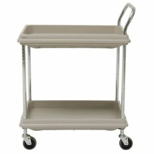 Hubert Utility Cart With 2 Deep Shelves Grey Plastic 32 3 4l X 21 1 2 w X 41 h