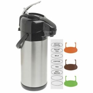 Hubert Airpot Coffee Server With Lever Lid 3 Liter Stainless Steel