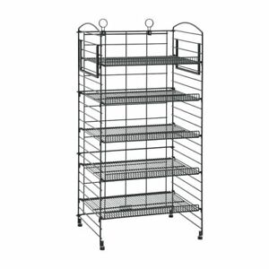 Mobile Merchandisers B2244f mb Fold Up Bakery Rack Black Wire 5 shelf 22 l X