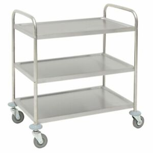 Hubert Utility Cart With 3 Shelves Stainless Steel 33 9 10 l X 21 1 10 w X