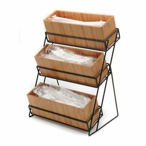 Cal mil 1813 60 3 Tier Bamboo black Metal Wire Condiment Holder 13 l X 9 1 2 w