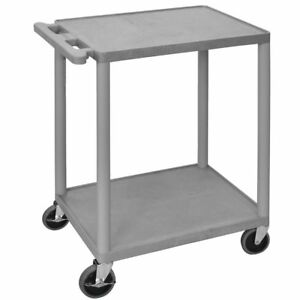 Luxor Grey Plastic 2 shelf Utility Cart 24 l X 18 w X 33 h