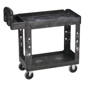 Rubbermaid 640 4500 88 bla Hd 2 shelf Utility Cart 39 l X 17 87 w X 33 25 h