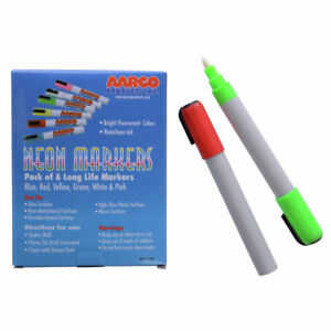 Aarco Products Dry Erase Neon Makers 6 Pack Mfl 6