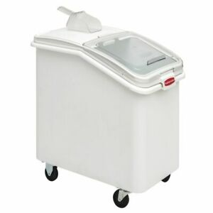 Rubbermaid Prosave 31 Gal White Plastic Ingredient Bin With Lid And 32 Oz Scoop