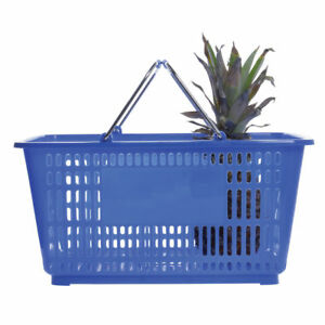 Hubert Blue Plastic Shopping Basket 32 Liter 20 l X 14 w X 9 3 8 d