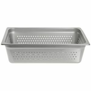 Hubert Steam Table Pan Full Size Perforated 22 Gauge Stainless Steel 6 D