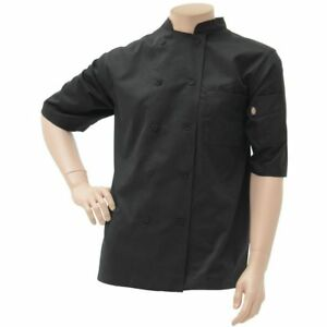 Cool Breeze Black Poly Cotton Chef Coat Extra Small Dc412 black xs