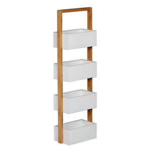 Hubert 4 tier Condiment Caddy With Deep White Mdf Trays Natural Bamboo 11 l X