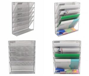 Superbpag Hanging File Organizer 6 Tier Wall Mount Document Letter Tray Silver