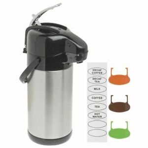 Hubert Stainless Steel Thermal Airpot Coffee Dispenser With Lever Lid 2 5