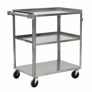Hubert Utility Cart With 3 Shelves Stainless Steel 30 3 4 L X 18 2 5 W X 33 H