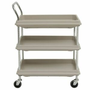 Hubert Utility Cart With 3 Deep Shelves Grey Plastic 8 3 4 l X 27 w X 41 h
