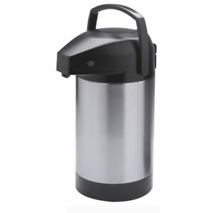 Hubert Thermal Airpot Coffee Dispenser With Pump Lid Stainless Steel 2 5 Liter