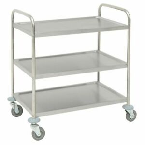 Hubert Utility Cart With 3 Shelves Stainless Steel 31 9 10 l X 17 9 10 w X 33