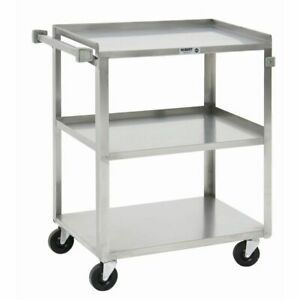 Hubert Utility Cart With 3 Shelves Stainless Steel 27 1 2 L X 16 1 4 W X 32