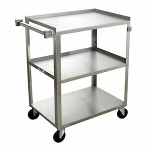 Hubert Utility Cart With 3 Shelves Stainless Steel 27 1 2 L X 16 3 4 W X 32 H