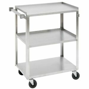 Hubert Utility Cart With 3 Shelves Stainless Steel 39 1 4 l X 22 3 8 w X 37