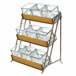 Condiment Holder 3 tier Espresso Metal With 9 Glass Inserts 13 L X 9 1 2 W X