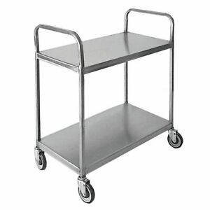 Hubert Utility Cart 2 shelf With Double Loop Handle Stainless Steel 39 l X