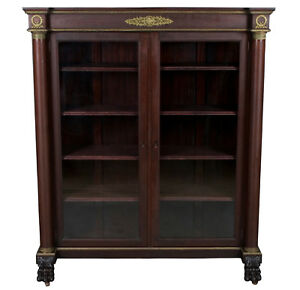 Vintage Antique Empire Glass Door Mahogany Bookcase Bookshelf Display Cabinet Fs