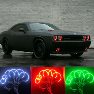 Multi color Led Angel Eyes Kit Rgb Halo Rings Light For Dodge Challenger 2008 14