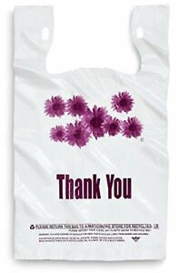 Purple Flower Thank You Plastic Shopping Bags 500 Pcs case