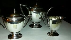 Nice Pairpoint Silverplate 3 Pc Coffee Set Mono H