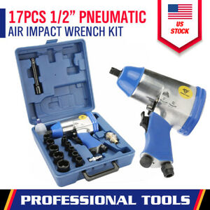 17 Pc 1 2 Drive Air Impact Wrench With 10 1 2 Dr Sockets 1 Extension Bar Oiler