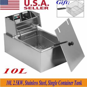 New 2500w 10l Electric Countertop Deep Fryer Tank Basket Commercial Restaurant E
