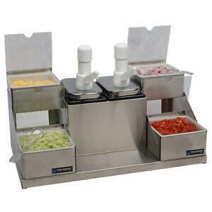 San Jamar P9724 Condiment Dispenser Pump Style Station W 4 Compartments S s