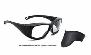 Radiation Safety Lead Glasses In Black Plastic Frame Comes With Thyroid Shield