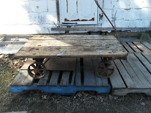 Vintage Industrial Factory Warehouse Dolly Railroad Cart Coffee Table