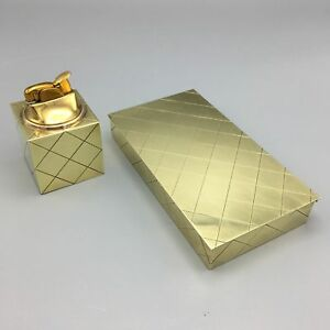 Tommi Parzinger For Dorlyn Mid Century 1950 Brass Diamond Box And Cube Lighter