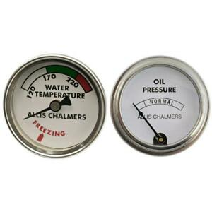 Water Temp And Oil Pressure Gauge Set For Allis Chalmers Tractor B C Wc Gauges
