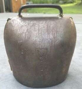 Vintage Cow Bell Great Old Primitive Horse Embossment Rare Antique