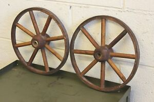 Pair Antique Rustic Wood Steel Wagon Folk Art Wheel Primitive Buggy Vintage 11