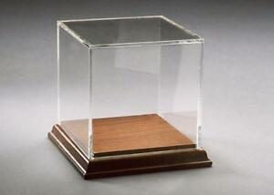 Acrylic Box Case With Walnut Base To Display Rocks Minerals Sports Memorabilia