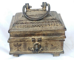 Antique Indian Handmade Box With Lot Of Hand Carving Work On Box