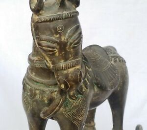 Antique Indian Handmade Bronze Metal Horse With Carving And Design
